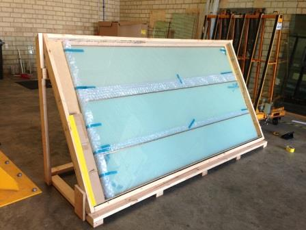 Specially made angled crate for Switchable Privacy Glass Panels