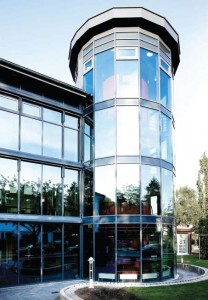 The Building Society Gartenstadt Wandsbek office in Hamburg, Germany features the Ornilux Mikado product